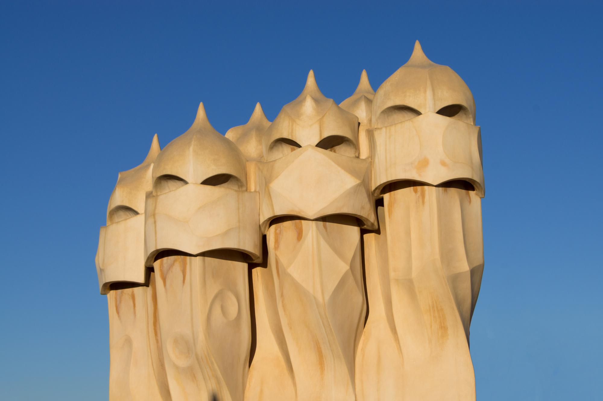 Chimneys on the roof of Casa Milà (La Pedrera) in Barcelona