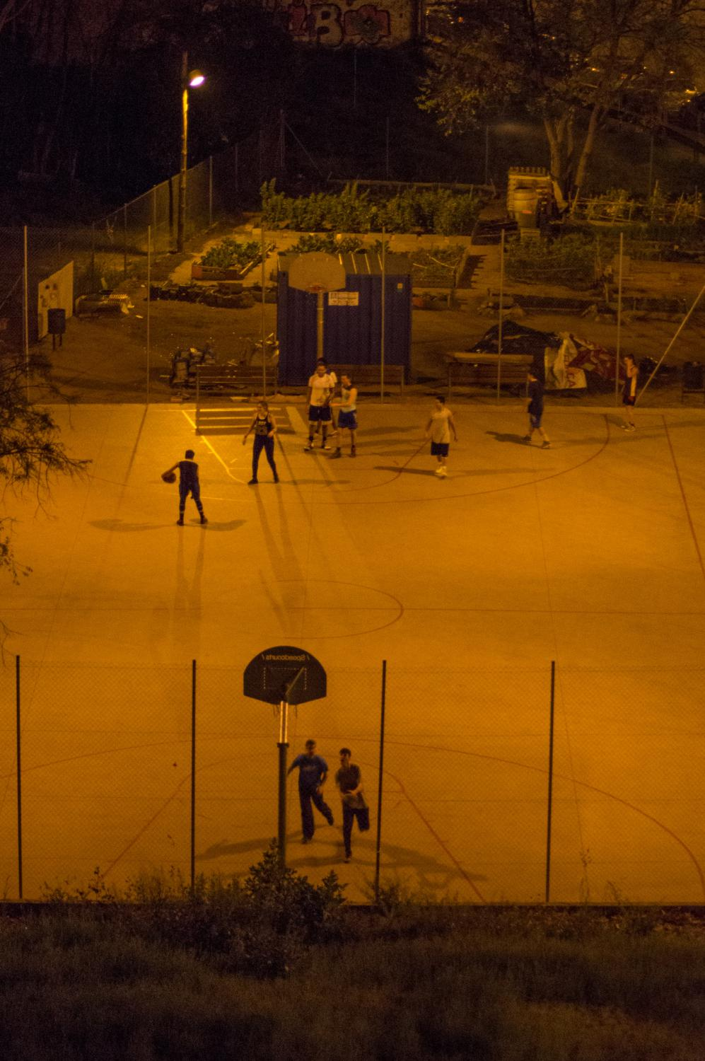 People playing basketball in Barcelona