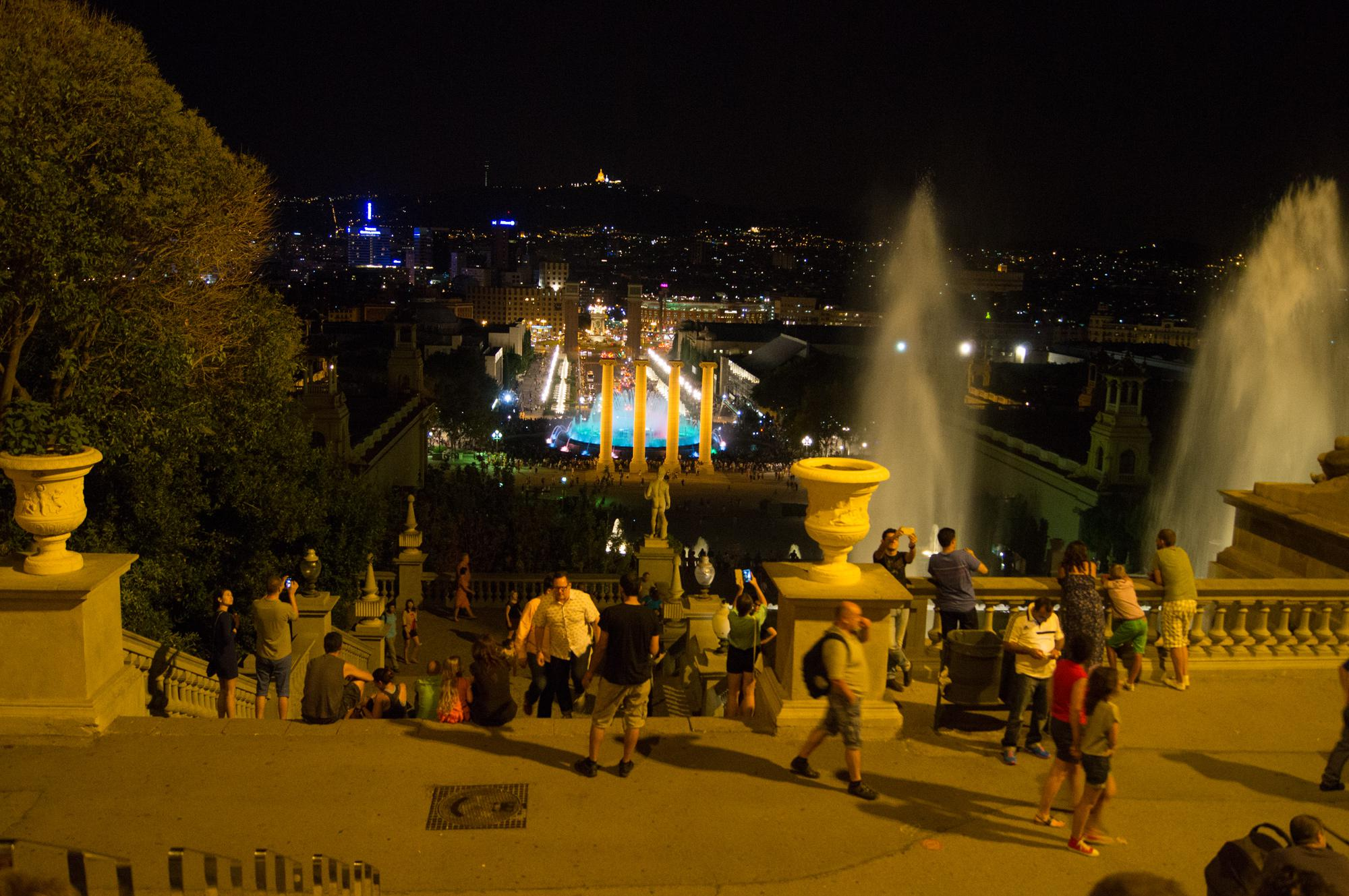 View of Magic fountain of Montjuic (Font màgica de Montjuïc) from the National Art Museum of Catalonia in Barcelona