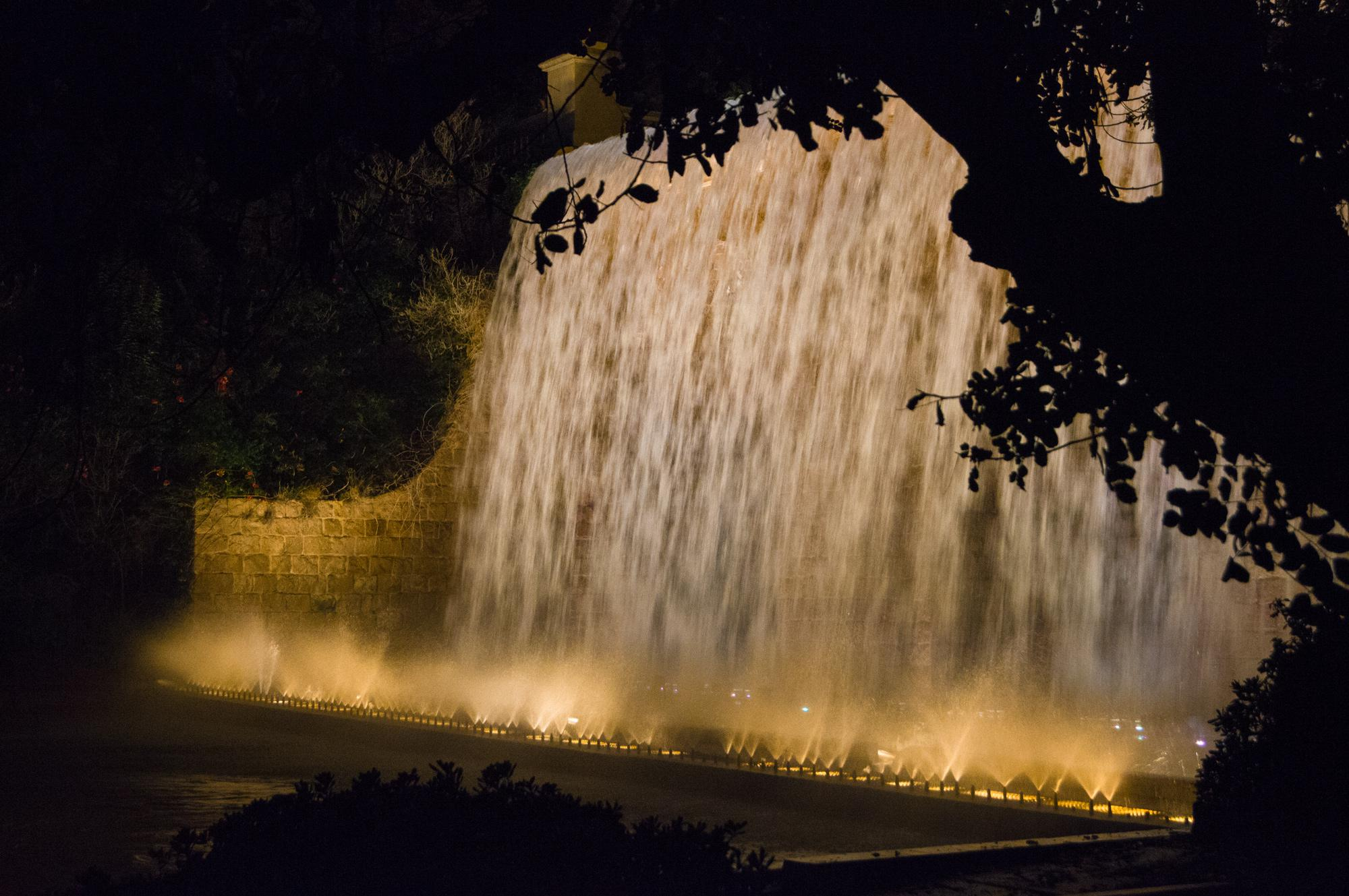 Part of the water cascade near the National Museum of Art of Catalonia on Montjuïc in Barcelona