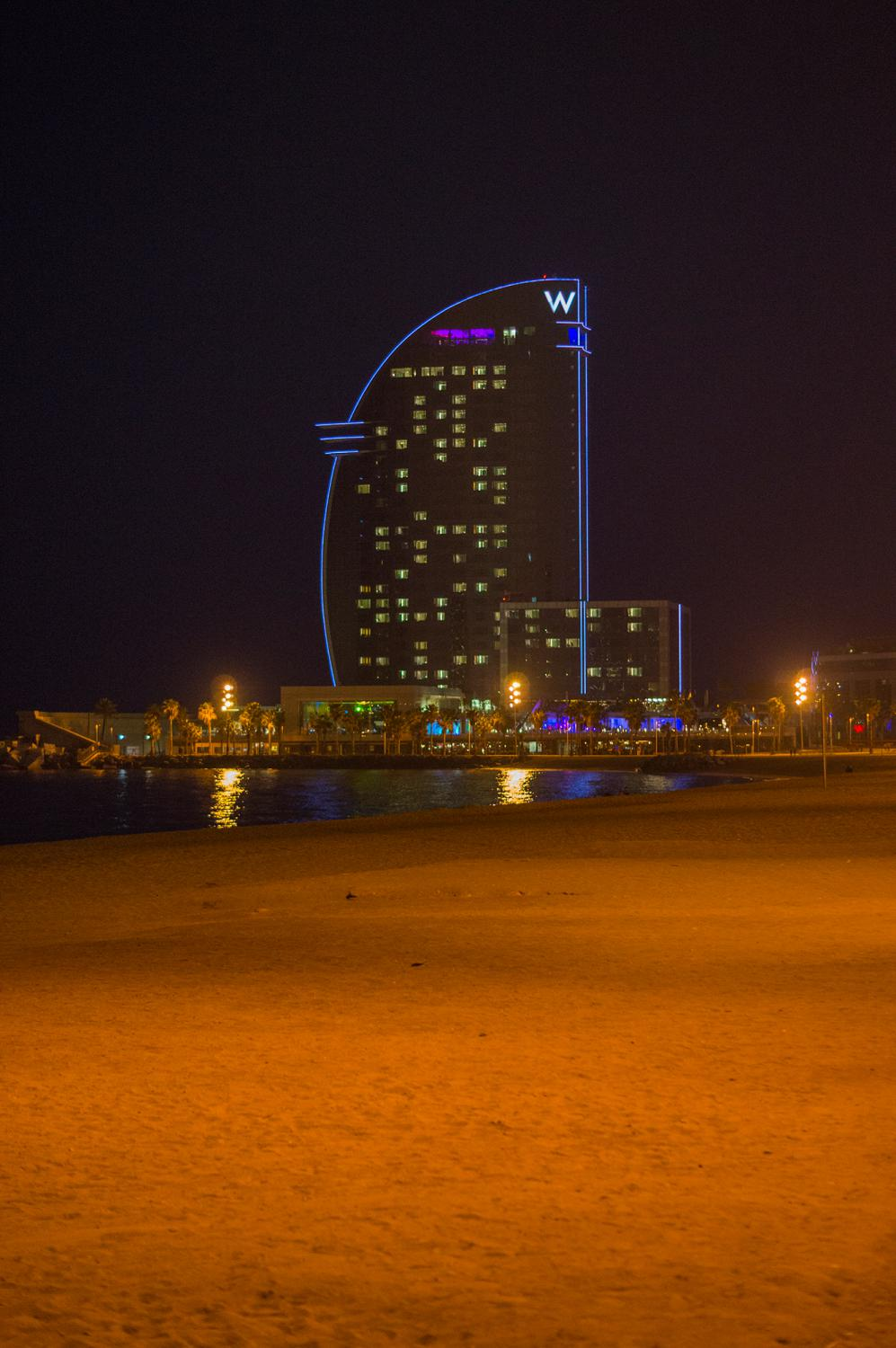 Night view of the W hotel in Barcelona