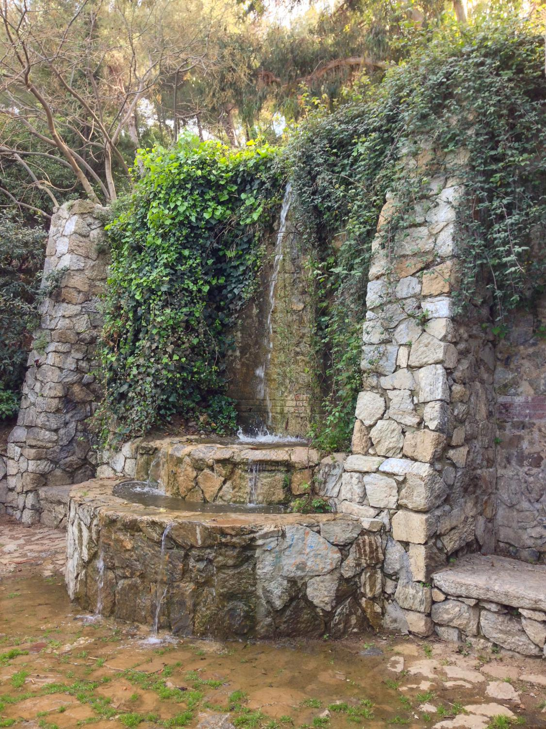 Quaint fountain in Parc del Guinardó in Barcelona